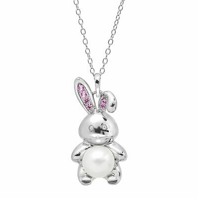 8 mm Freshwater Pearl & 1/8 ct Created Pink Sapphire Bunny Pendant in Silver