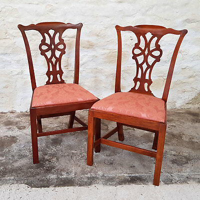 Late George III Chippendale Style Walnut Pair Dining Chairs C1820 (Antique)