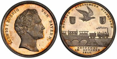 1840 Germany Prussia Silver Medal Railway PCGS SP64 Toned Hauser-506