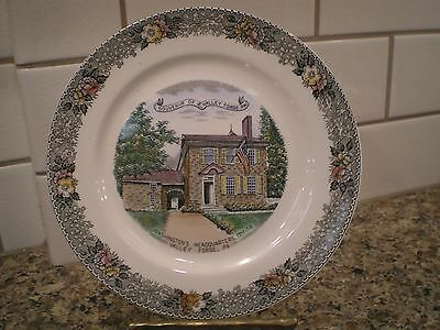 Old English Staffordshire Ware Plate Souvenir of Valley Forge PA Jonroth Adams