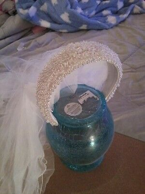 White Wedding Veil New with Head Band of Beautiful Beads