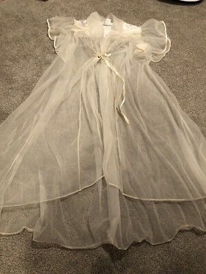 NWT Vintage Robe VAL MODE Double Chiffon Lingerie Butterfly Sleeve Romantic M