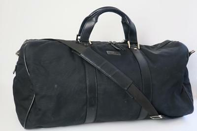 Gucci Black Nylon & Leather Trim Carry-On Duffle Weekend Travel Bag Luggage