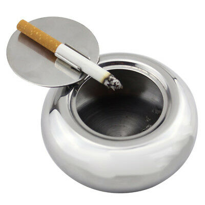 Round Ashtray Stainless Steel Car Cigarette Cigar Smoking Ash Tray with Lid