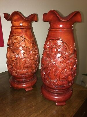 Chinese Pair Of Hand-Carved Wood Vases Jars Pots