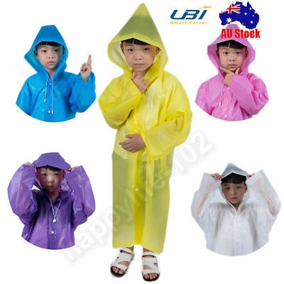 Waterproof Kids Long Hooded Rainsuit Rain Poncho Children Raincoat Jacket Cover