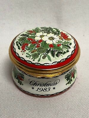 Halcyon Days Enamel Christmas 1983 Round Trinket Box