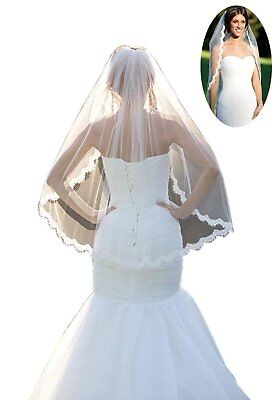 Fingertip Wedding Veils Comb Lace One Layer& Soft Tulle Elbow Beige Ivory Size L