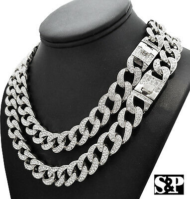 """Hip Hop Quavo Full Iced Out 16"""",18"""", 20"""", 24"""" Miami Cuban Link Choker Necklace"""