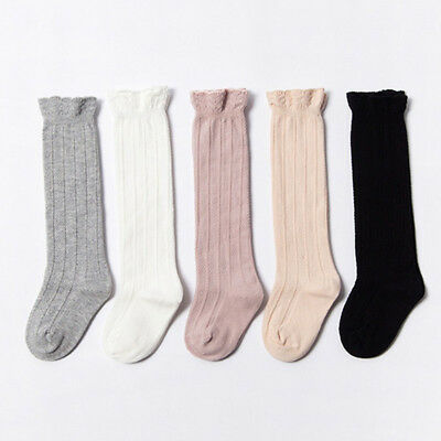 Baby Newborn Girls Cotton Knee High Long Socks Knitted Leg Warmers