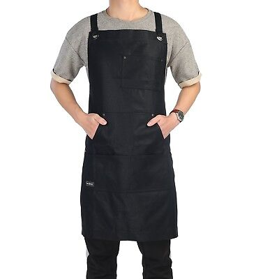 Work Apron, Clya Home Heavy Duty Waxed Canvas Apron Shop Apron with Tool ... New