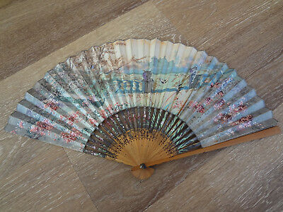 Antique 18th Century Style Chinese Handpainted English Estate Scene Fan