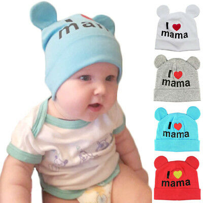 Newborn Infant Baby Cotton Skullies I Love MaMa Print Caps Hats Knitted Beanie