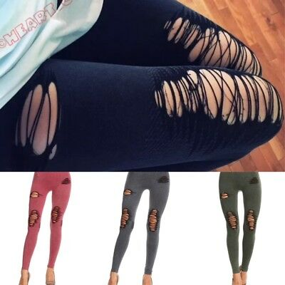 0e69f117caa668 SEXY Distressed Vintage Washed Denim Look Slashed Stretchy Fashion Leggings