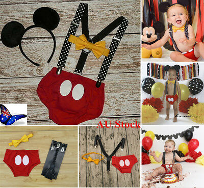 AU Birthday Gift Baby Boy Infant Mickey Mouse Outfits Party Romper Photo Props