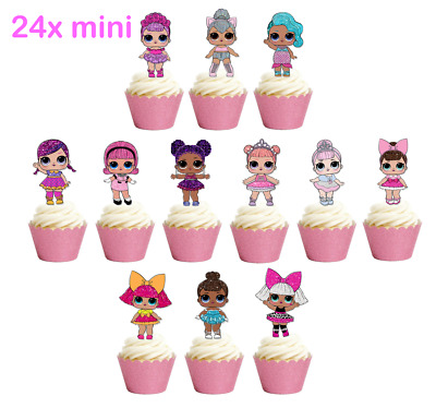 24x Mini Glitter LOL Dolls Stand up Edible Cupcake Toppers Birthday Images L.O.L