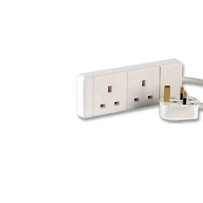 5m 2 Way Mains Power Gang Extension Socket - Multi Plug Splitter Adapter Cable -