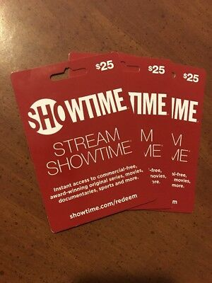 Showtime Gift Cards $25 x3 For $75 Total