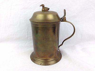 Vintage Solid Brass Duck Hinged Lid Stein Mug Enesco Imports Made in India