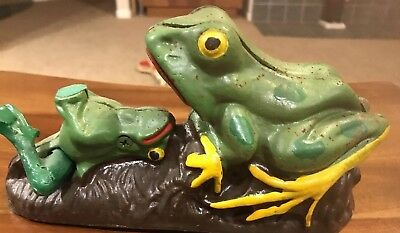 Cast Iron Mechanical Coin Bank Vintage Replica Frog  Works! With stopper!