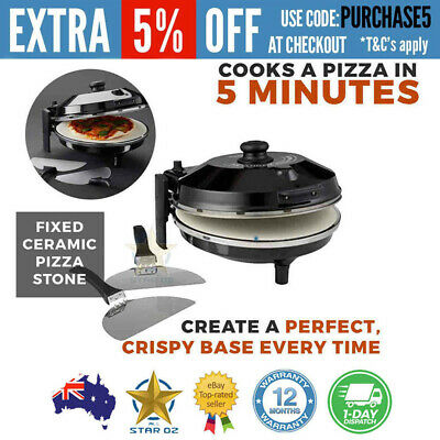 Electric Pizza Maker Ceramic Oven Baking Toaster with Stainless Steel Paddle Mas