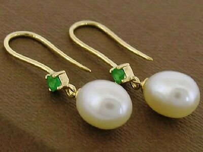 E60/62 Genuine 18ct 18K SOLID Gold NATURAL Emerald & Pearl Drop Earrings