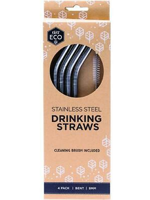 EVER ECO Stainless Steel Straws- Bent 4 Organic Gluten Free Health Food
