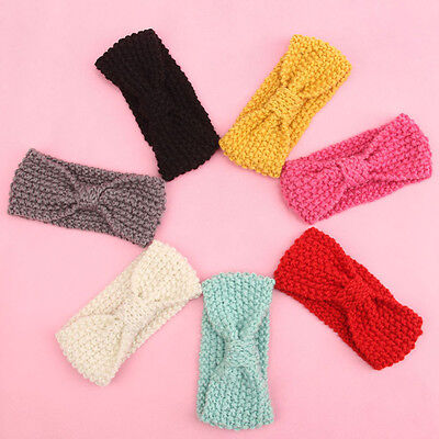 Lc_ Baby Kids Girl's Cute Warm Winter Hair Band Bow Crochet Knitted Headband O