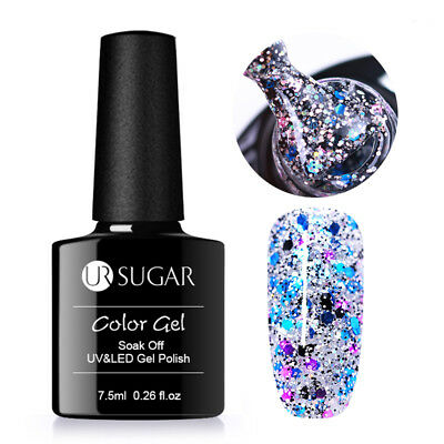 7.5ml Holographic Glitter Soak Off UV Gel Nail Polish Sequins Gel Nails UR SUGAR
