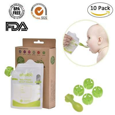 10Pcs Double Zipper Reusable Refillable Food Pouch Baby Feeding Supplies Set