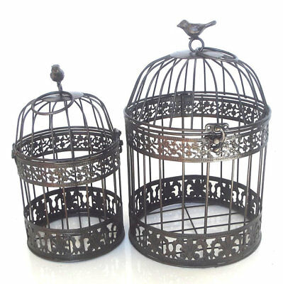 Decorative Bird Cages Metal Iron French Antique Wedding Candle Holder Set/2