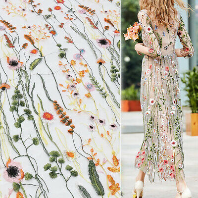 39*53'' White Floral Flower Embroidery Mesh Wedding Bridal Dress Lace Fabric