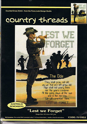 """ LEST WE FORGET ""  Cross Stitch Kit,  Country  Threads"
