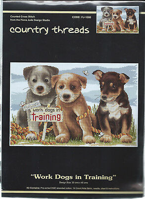 """ WORK DOGS IN TRAINING ""  Cross Stitch Kit,  Country  Threads"