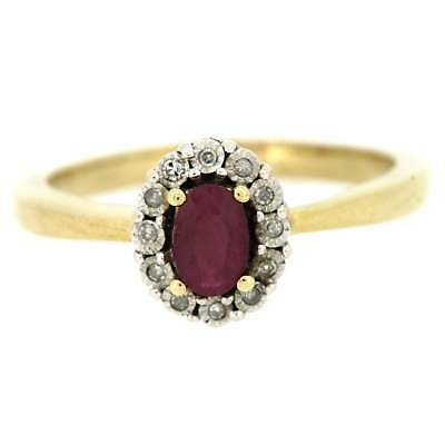 61e0a055912133 LADIES HALLMARKED 9CT Yellow Gold Diamond And Ruby Cluster Ring ...