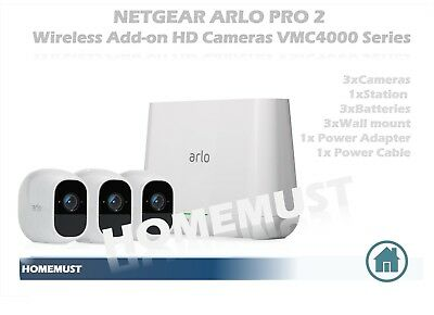 NETGEAR ARLO PRO VMC4030 Wire-Free HD Home Security 3xCamera,3xBattery,1xStation