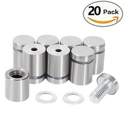 LuckIn 20 Pcs Stainless Steel Wall Mount Glass Standoff Holder Screw Nail... New