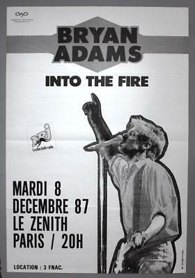 BRYAN ADAMS - rare vintage original Paris 1987 INTO THE FIRE concert poster