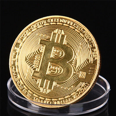 1x GOLD Plated Bitcoin Coin Collectible AWESOME GIFT COMMEMORATIVE BITCOIN+Case