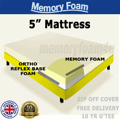New Memory Foam Mattress Single Double King 4Ft6 5Ft Bed Size Matress +Cover 5""