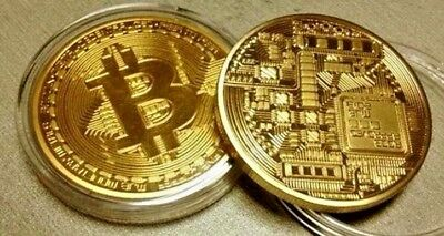 Bitcoin Gold Plated Physical Commemorative Bitcoin In Protective Acrylic Case ^^