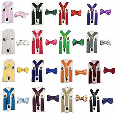 Children Boys Girls Clip-on Bow Tie  Suspender Set Elastic Adjustable UK