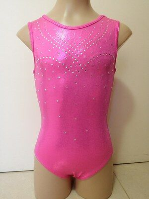 NEW LOLLY PINK SHINY FOIL W/ DIAMANTES AL 65cm Ladies Sz 12 Gymnastics Leotard