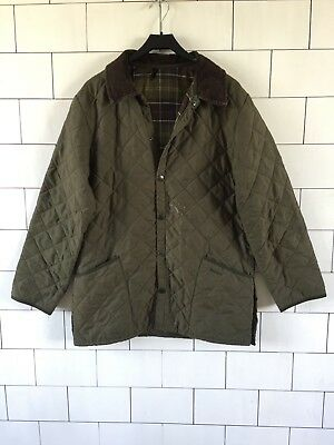 Mens Vintage Retro Green Urban Barbour Quilted Jacket Coat Size Medium #32