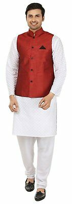 Maroon Traditional Men's Nehru Jacket Ethnic Wear Silk Blend Coat Party Dress