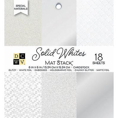 """DCWV Cardstock Stack Solid Whites Paper Pad 6"""" x 6"""" Scrapbooking, 18/Sheets"""