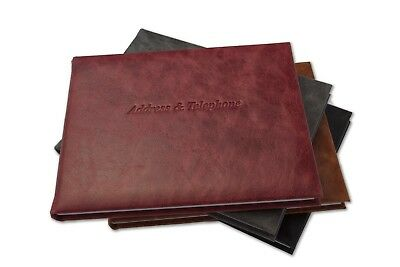Desk Address & Telephone Contacts Book Deluxe High Quality Vintage Italian Hide