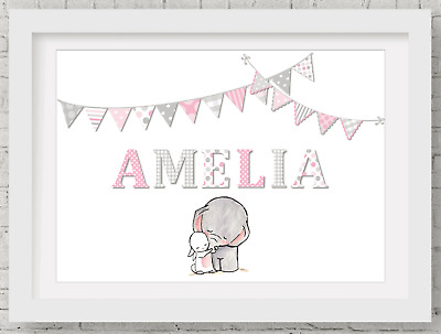 Nursery Name Wall Art Picture New Baby Christening Print Frameless