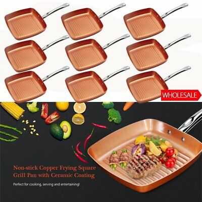 """LOT Copper Square Frying Pan 10""""X10"""", 2 Inch Deep Non Stick New"""