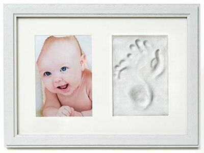 Premium Baby Hand and Footprint Frame Kit by 2 Little Bears | Solid Wood, Real G